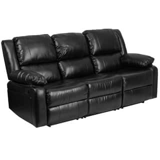 Porch Den Stonehurst Gravenstein Leather Sofa With Two Built In Recliners