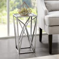 Silver Orchid Allison Silver Angular Mirror Accent Table