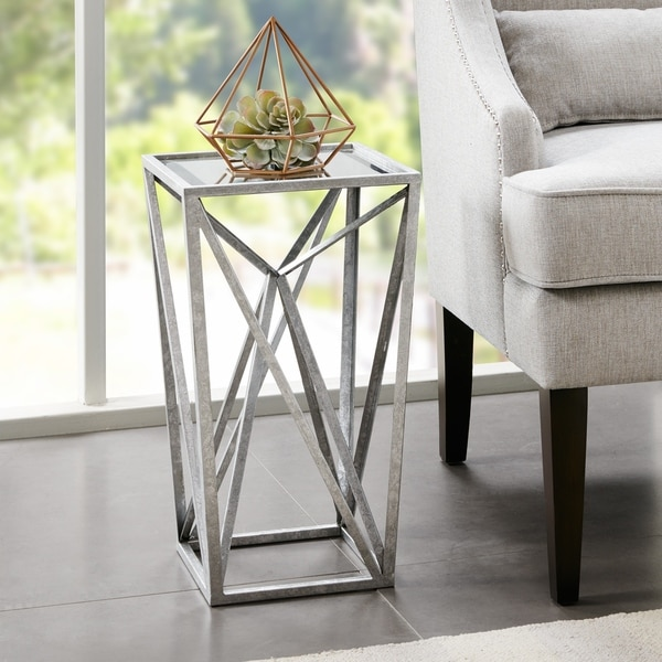 Silver Orchid Allison Silver Angular Mirror Accent Table. Opens flyout.