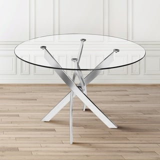 Kart Round Contemporary Glass/ Metal Dining Table