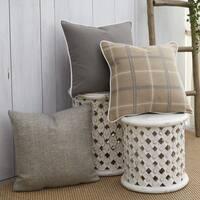 Patina Vie French Tartan Sunbrella Indoor/Outdoor Pillow Assorted Set of 3 in Grey, Tan and Beige
