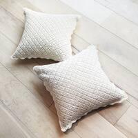 Decorative Handmade Crochet Trimmed Throw Pillow Cushion Cover White