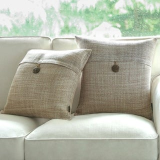 Button Beige Linen Decorative Throw Pillow Case Cushion Cover