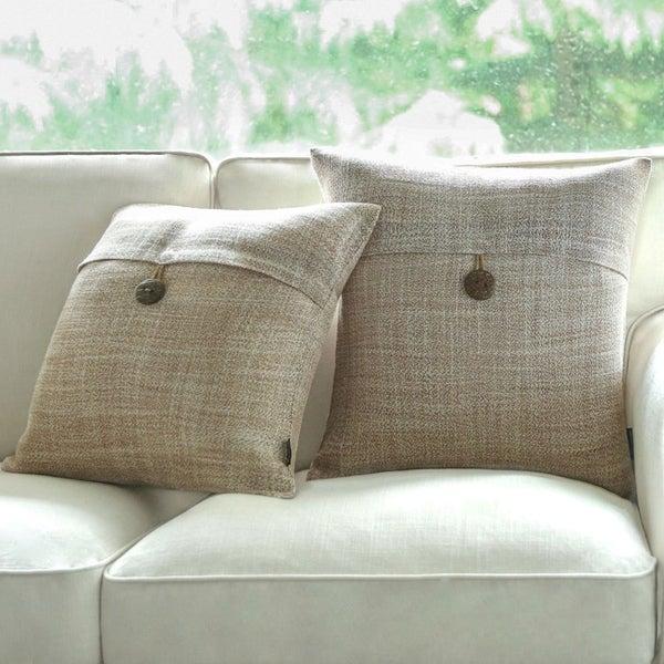 Shop Button Beige Linen Decorative Throw Pillow Case