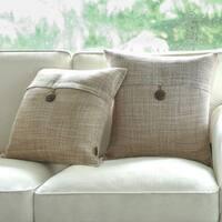 Button Beige Linen Decorative Throw Pillow Case Cushion Cover