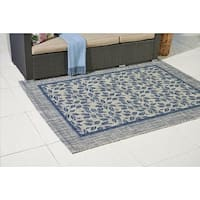 Ivory Blue Bordered Durable Indoor/ Outdoor Area Rug - 7'10 x 10'6