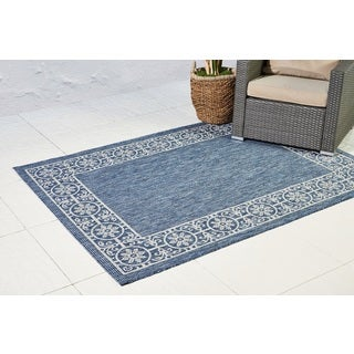 Floral Bordered Blue Indoor/ Outdoor Area Rug - 5'3 x 7'3