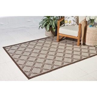 Natural Brown Geometric Durable Indoor/Outdoor Area Rug - 3'6 x 5'6'