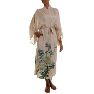 Handmade Women's 'Azure Blossoms' Silk Robe (Indonesia) (As Is Item)