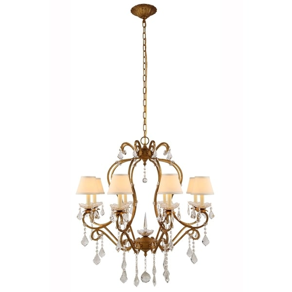Royce Edge 8-Light Chandelier With Faux Silk Shades