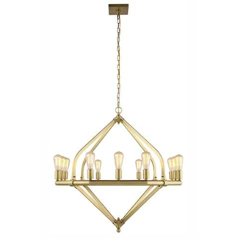 Royce Edge 12-Light Pendant (Burnished Brass, Bronze, Polished Nickel)