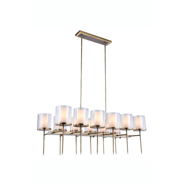 Royce Edge 12-Light Chandelier (Burnished Brass, Bronze, Vintage Nickel)