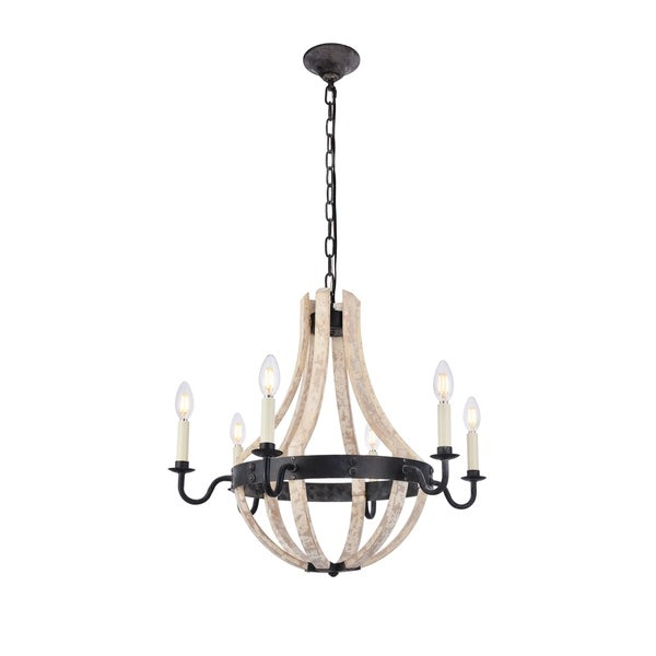 Royce Edge 6-Light Pendant (Ivory Wash&Steel Grey, Saddle Rust&Golden Iron)