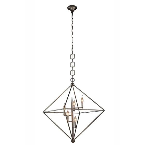 Royce Edge 5-Light Pendant (Aged Iron, Golden Iron, Vintage Silver Leaf)