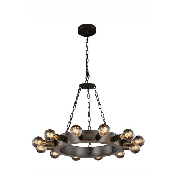 Royce Edge 12-Light Circular Metal Pendant