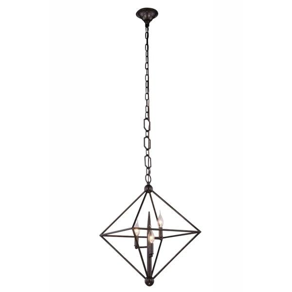 Royce Edge Metal Candelabra 3-light Pendant