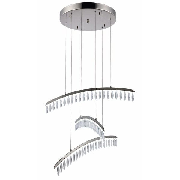 Fleur Illumination Polished Nickel Metal 69-light Chandelier with Clear Crystal Elements