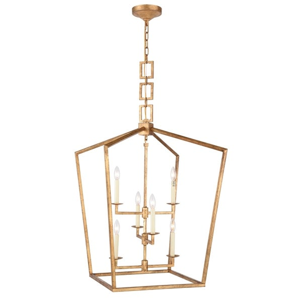 Royce Edge 6-Light Chandelier (Golden Iron, Ivory Wash, Polished Nickel, Vintage Bronze)