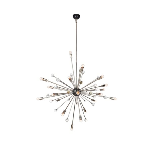 Royce Edge Polished Nickel/Bronze Metal 24-light Chandelier