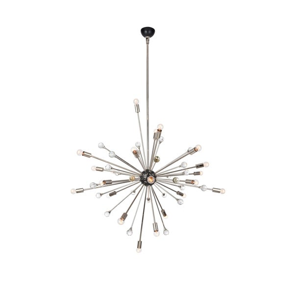 Royce Edge 24-Light Polished Nickel and Bronze Chandelier - polished nickel&bronze - royal cut clear crystal