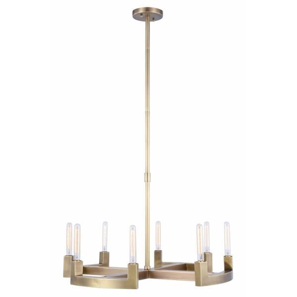 Royce Edge Burnished Brass/Bronze/Polished Nickel Metal 8-light Chandelier