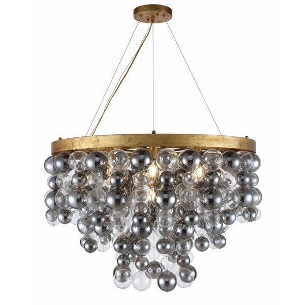 Royce Edge 7-Light Chandelier (Antique Gold Leaf, Antique Silver Leaf)
