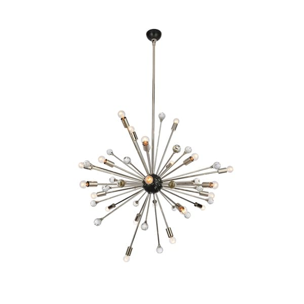 Royce Edge Polished Nickel/Bronze Metal 24-light Chandelier with Clear Royal-cut Crystals
