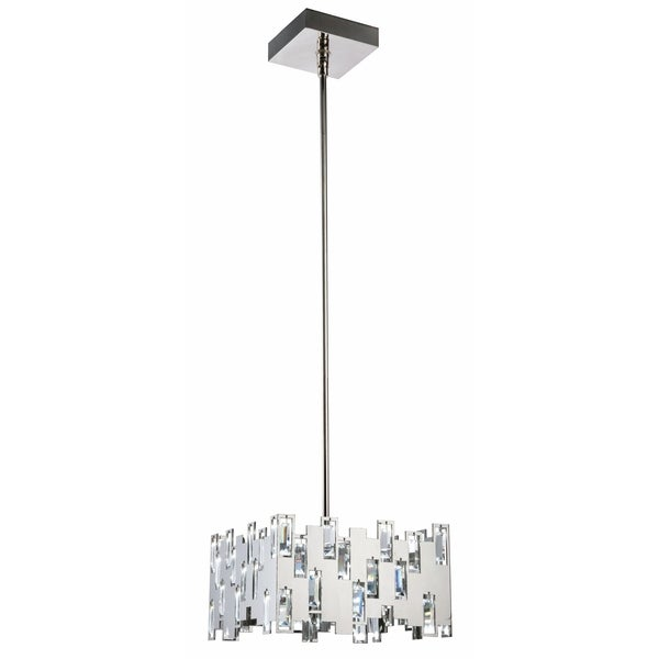 Fleur Illumination 52-Light Polished Nickel Pendant - polished nickel-swarovski® elements clear crystal