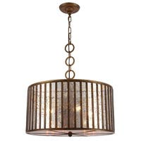 Royce Edge Dark Antique Brass Metal/Glass 4-light Chandelier
