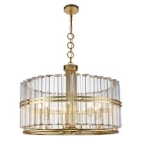 Royce Edge 9-Light Chandelier (Antique Gold Leaf, Antique Silver Leaf)
