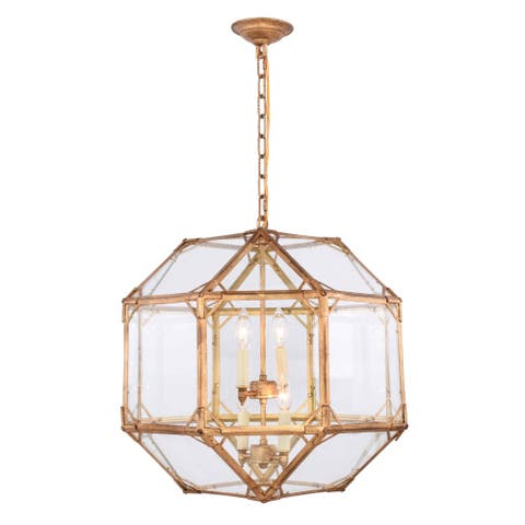 Royce Edge 4-Light Pendant (Golden Iron, Polished Nickel, Rustic Zinc, Saddle Rust)