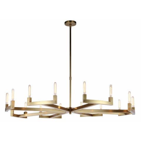Royce Edge 16-Light Chandelier (Burnished Brass, Bronze, Polished Nickel)