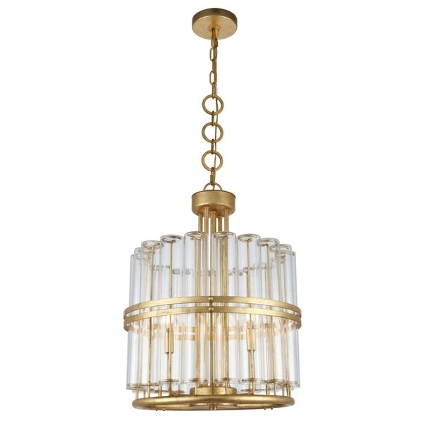 Royce Edge 3-Light Pendant (Antique Gold Leaf, Antique Silver Leaf)