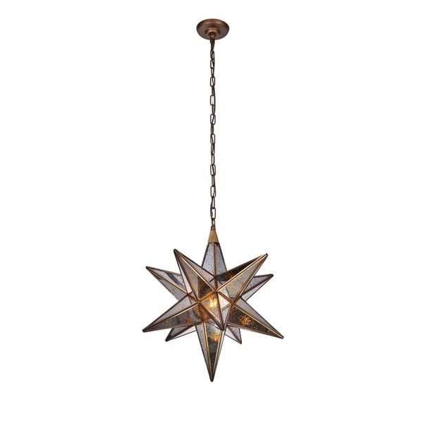 Royce Edge Dark Antique Brass Metal 1-light Pendant