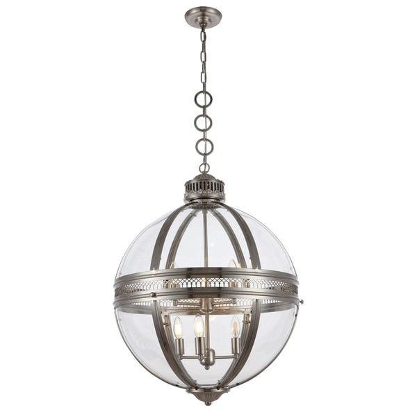 Royce Edge Satin Nickel Metal/Clear Glass 6-light Chandelier