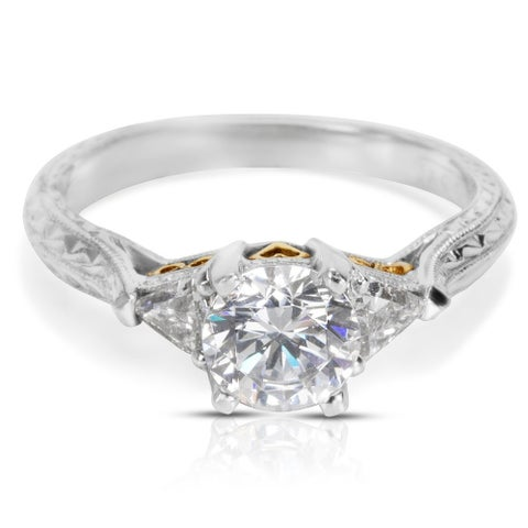 Tacori HT 2227 Platinum Three Stone Diamond Engagement Ring Setting 0.33ct