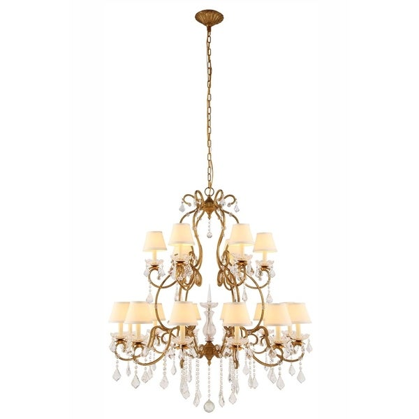 Royce Edge 18-Light Chandelier (Golden Iron, Vintage Silver Leaf, Vintage Bronze)