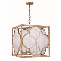 Royce Edge Goldtone Iron 4-light Pendant
