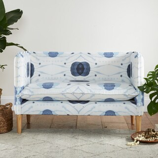 Skyline Furniture French Seam Settee in Delray Blue