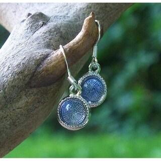 Handmade Recycled Early 1900's Purple Medicine Bottle Color Dot Earrings
