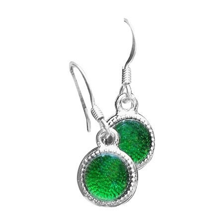 Handmade Recycled Reclaimed Vintage Emerald Green Beer Bottle Color Dot Earrings (United States)