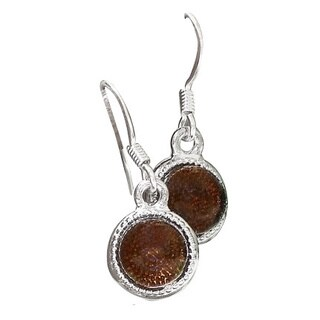 Recycled Vintage Amber Brown Clorox Jug Color Dot Earrings