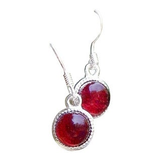 Handmade Recycled World War II era Ruby Red Beer Bottle Glass Glass Color Dot Earrings