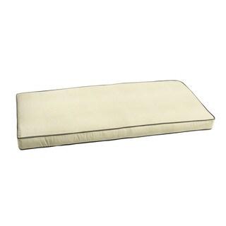 "Sunbrella Ivory w/ Charcoal Grey Indoor/ Outdoor Bench Cushion 55"" to 60"""