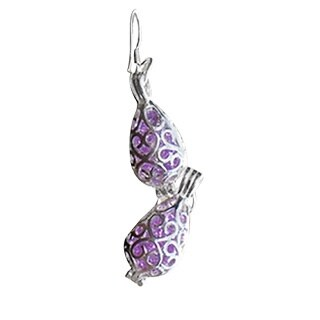Handmade Recycled Early 1900's Amethyst Medicine Bottle Silver Filigree Teardrop Earrings