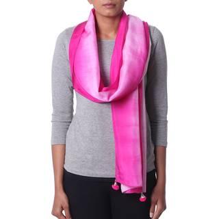 Link to Handmade Silk 'Fuchsia Glamour' Scarf (India) Similar Items in Scarves & Wraps