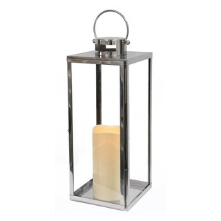 """Puleo International 21"""" Stainless Steel Lantern with 4.5"""" x 9"""" tall candle"""