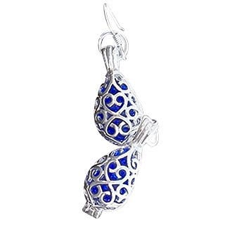 Handmade Recycled Vintage Noxzema Jar Silver Filigree Teardrop Earrings (United States) - Blue