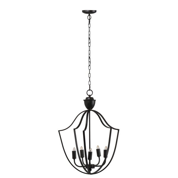 Malin Rustic 5-Light Black Iron Chandelier