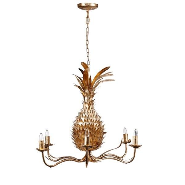 Pineapple Iron 6-light Chandelier